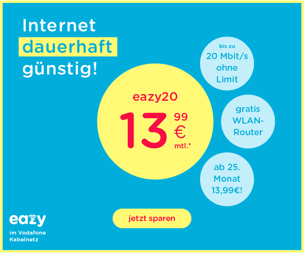 eazy20 :  Internet Flat ohne Drosselung mit 20Mbit/s.
